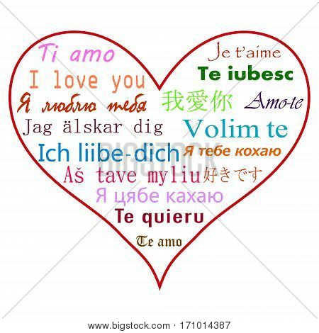 Say I love you in many languages in the heart.