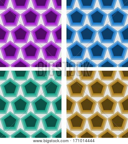 Set Of Abstract Seamless Vector Pentagonal Patterns In Different Colors