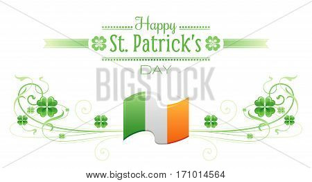 Happy Saint Patrick day border banner, isolated white background. Irish shamrock clover, green leaf frame, text lettering logo, flag icon. Traditional Northern Ireland celtic holiday poster