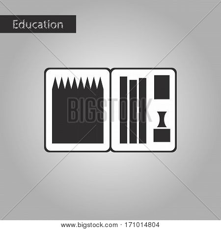 black and white style icon pencil box pencil pen