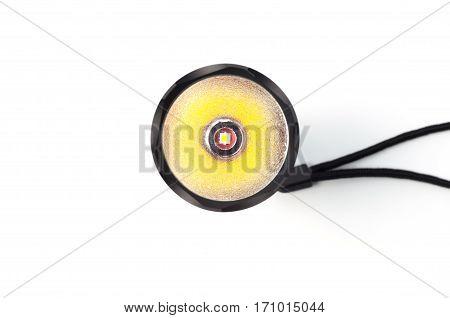 Black LED torch flashlight isolated on a white background