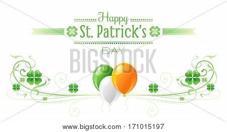 Happy Saint Patrick day border banner, isolated white background. Irish shamrock clover, green leaf frame, text lettering logo, flag balloon icon. Traditional Northern Ireland celtic poster