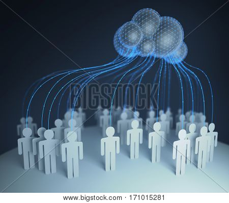 People of the world interconnected through the shared computer processing resources and data to computers cloud computing. 3D illustration.