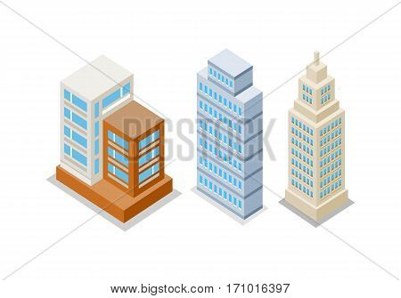 Set of modern apartment buildings. Architecture apartment icon, building residential, business multistory building, office building. Isolated object on white background. Vector illustration.
