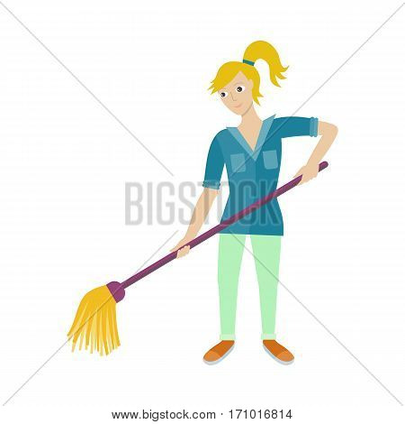 Cleaning service. Female member of the cleaner service staff in uniform. Worker of cleaning company with broom. Successful cleaning business company. Hotel charwomen isolated. Vector illustration