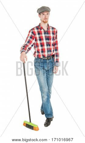 Young Handsome Man With Mop Isolated