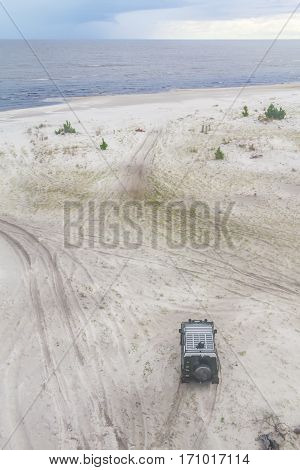 Off-road Car In The Sand At Lagoa Do Patos Lake