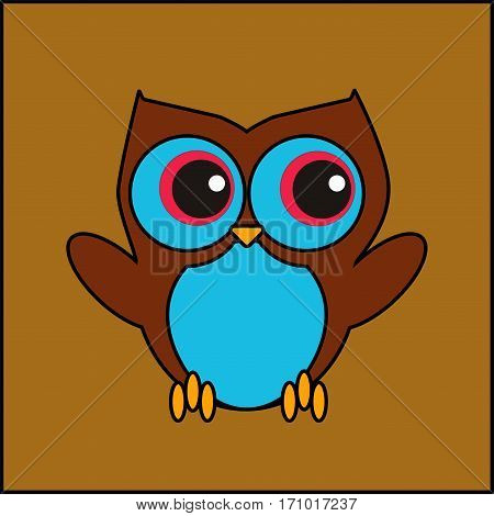 Brown owl with big blue eyes and claws cute