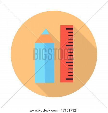 Ruler and pencil icons with shadow isolated on white. Stationery blue pencil and red ruler. Editable items in flat style for web design. Part of series of accessories for work in office. Vector