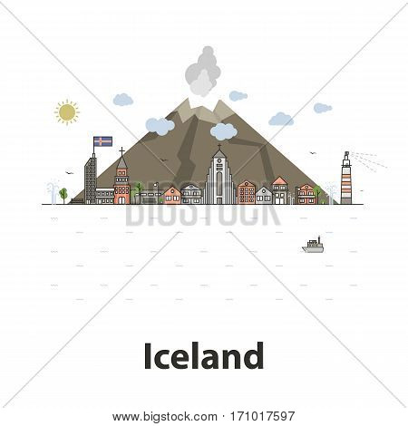 Iceland island vector illustration thin line isolated on a white background