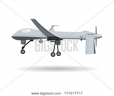 Flying drones vector illustration. Flat design. Drone with propellers and mounted camera. Modern technology. Unmanned aerial vehicle. For store ad, spy concepts, app icons. On white background