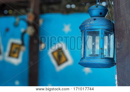 Old fashioned vintage kerosene or oil lantern