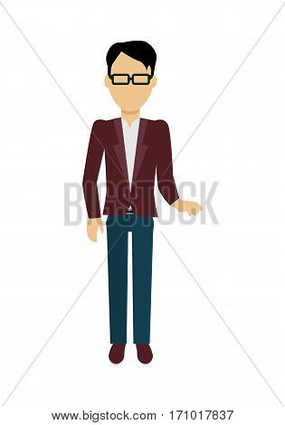 Male character without face in red jacket vector in flat design. Man template personage illustration for invitation concept, mobile app pictogram, logos, infographic. Isolated on white background.