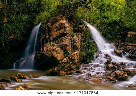 Small waterfall in western Tien-Shan mountains, Uzbekistan