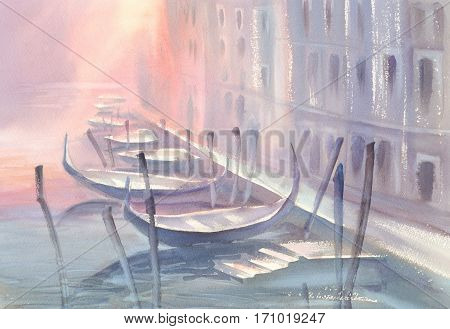 Watercolor painting of Gondola on canal in Venice in a morning mist. Illustration of Venice.