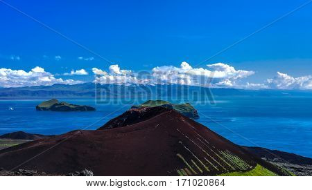Panorama with Eldfell volcano in Heimaey iseland Vestmannaeyjar archipelago Iceland