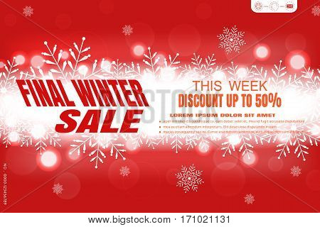 Vector poster for Final winter sale on the gradient red background with glow in the center snowflakes radiance and text.