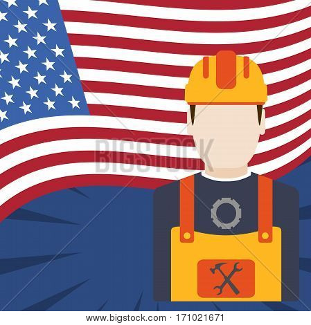Blank of poster for Happy Labor Day with rays, worker and flag.
