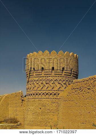 Tower in the wall around Dowlat Abad Garden Yazd Iran