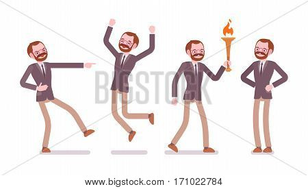 Set of male professional teacher showing positive emotions, successful, jumping with joy, bearing a torch, laughing, feeling happy and enthusiastic, full length, front view isolated, white background