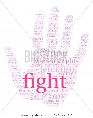 Women's Rights Fight word cloud on a white background.
