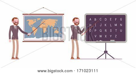Set of male professional teacher in formal wear, standing and pointing to the map and blackboard, teaching a lesson of geography and english letters, full length, isolated against white background