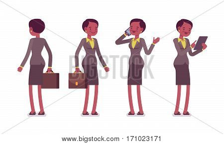 Set of female professional teacher in formal wear with bag, standing poses, talking on phone, holding tablet, before lesson, full length, front and rear view, isolated against white background