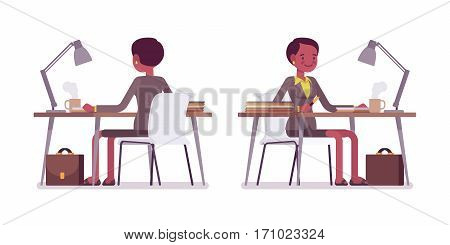 Set of female professional teacher sitting at the desk and working with paper, checking tests, a lesson plan, preparing, comfortable workplace, front and rear view, isolated, white background