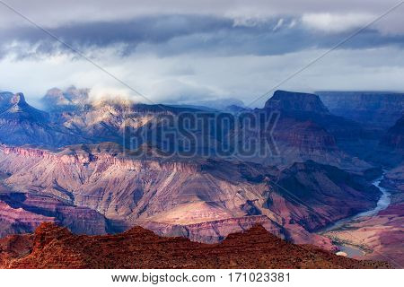 Storm brewing over Grand Canyon North Rim in Arizona, USA