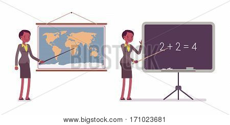 Set of female professional teacher in formal wear, standing and pointing to the map and blackboard, teaching a lesson of geography and maths, full length, isolated against white background