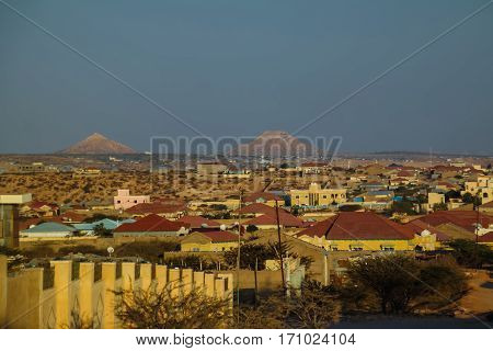 Aerial view to Hargeisa, biggest city of Somaliland, Somalia