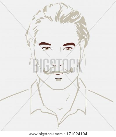 Man face hand drawn. Portrait of a young handsome man. Vector illustration