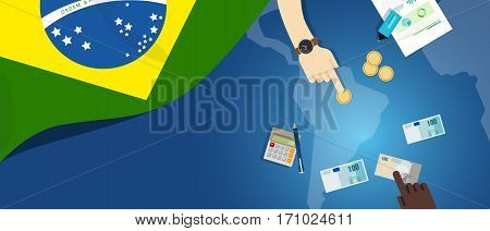 Brazil economy fiscal money trade concept illustration of financial banking budget with flag map and currency vector