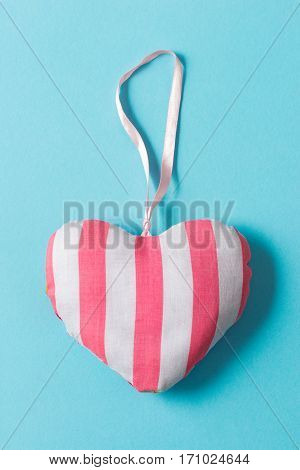 Stuffed Heart-shaped Ornament With Pink And White Stripe Design