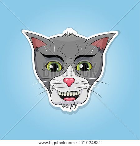 picture of funny cat head, cat head sticker
