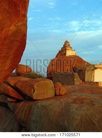Malyavanta Raghunath Temple on top of rock in Hampi Karnataka India