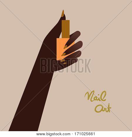 Woman holding a nail polish bottle. Beautiful woman hand. Vector illustration eps 10