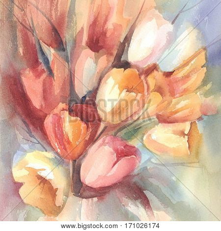 Red, yellow and white tulips bouquet on color background hand made watercolor.