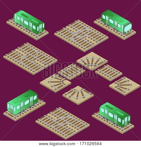 Isometric train and railway system with parts turn and crossroad in vector