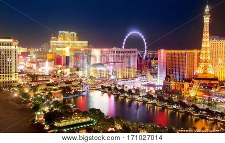 LAS VEGAS, NEVADA - November 05, 2016. Las Vegas Strip in night lights