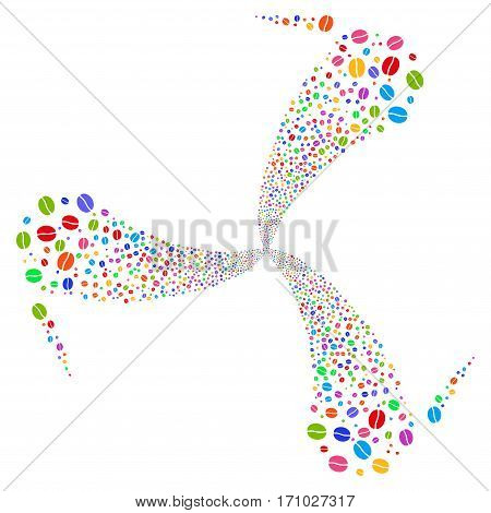 Coffee Bean fireworks swirl rotation. Vector illustration style is flat bright multicolored iconic symbols on a white background. Object twirl constructed from random design elements.