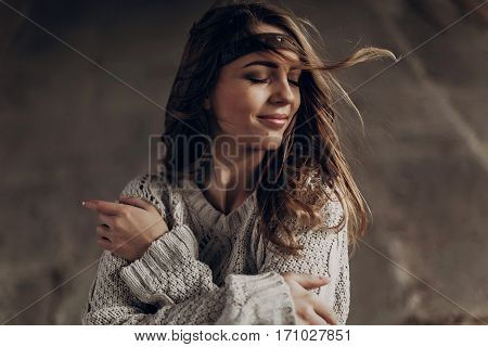 Beautiful Hipster Woman In Boho Indie Clothes, Posing In Winter Outdoor, Face Closeup, Wind Playing