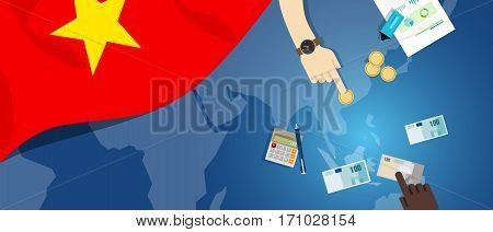 Vietnam economy fiscal money trade concept illustration of financial banking budget with flag map and currency vector