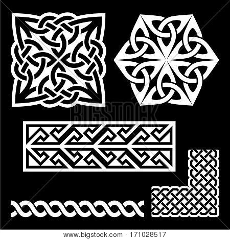Celtic Irish and Scottish white patterns - knots, braids, key patterns