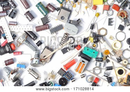Electronic parts capacitors resistors diodes transistors potentiometer and chips