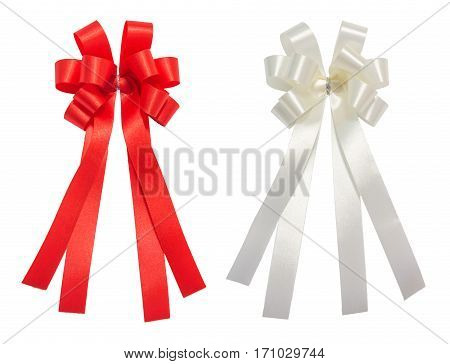 Red and white bow tale glossy ribbon christmas reward prize award concept icon or symbol decorations isolation on white background with clipping path