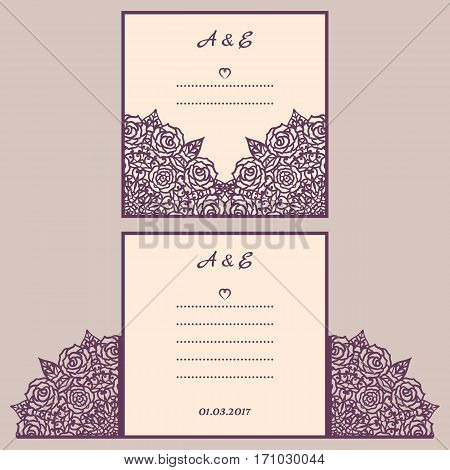 Wedding cutout invitation template. Suitable for lasercutting. Lazercut vector wedding invitation template. Lazer cut vector. Lace folds. Gate fold wedding invitation mockup.