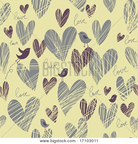 Cartoon romantic seamless pattern