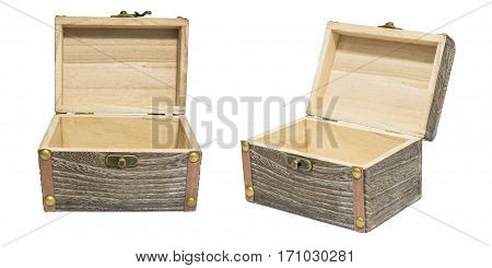Old Vintage Open Box Wood Crate Chest Isolation on White Gift Present Reward Concept. 30 Degree Angle View.