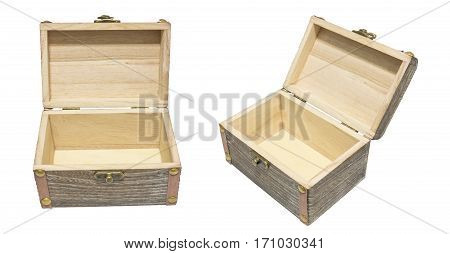 Old Vintage Open Box Wood Crate Chest Isolation on White Gift Present Reward Concept. 45 Degree Angle View.